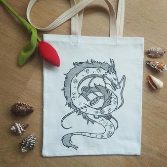 Сумка с драконом, сумка аниме, шоппер с драконом аниме