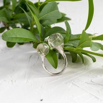 Двойное кольцо из эпоксидной смолы с семенами одуванчика