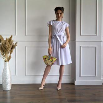 Белое летнее льняное платье White Linen Summer Dress