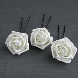 Шпильки с розами /  Набор шпилек с цветами невесте / Весільні прикраси для волосся