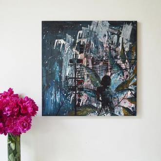 """Картина """"Фея мегаполиса"""". 60х60 см. Масло, акрил. Холст на подрамнике. Единственный экземпляр"""