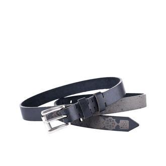 Чорний ремінь Franko UA pattern black Small belt з ремінної шкіри бика