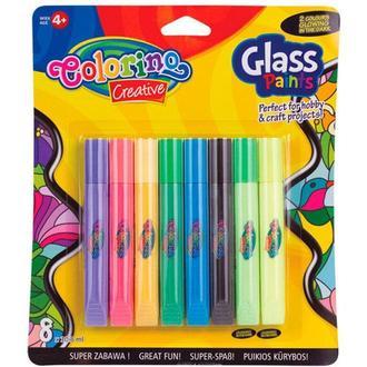 Набор витражных красок Colorino 8цв. с трафаретами 68949PTR