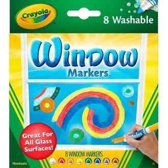Фломастеры широкие, смываемые 8цв. Crayola для рисования на стекле 58-8165