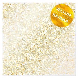 Калька (веллум) Фабрика Декору 30,5*30,5см 90г с фольгированием Golden Poinsettia FDFMA-2-022