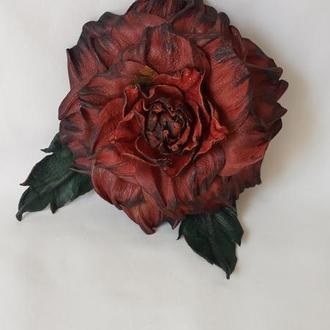 "Брошка из кожи ""Роза терракота"""