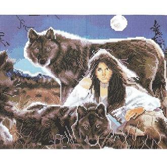 Алмазная живопись мозаика по номерам на холсте 40*50см BrushMe GJ700 Волчица
