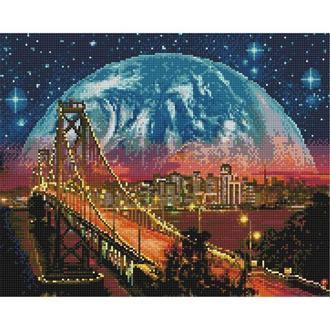 Алмазная живопись мозаика по номерам на холсте 40*50см BrushMe GJ4063 Ночной Сан-Франциско