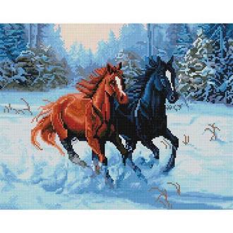 Алмазная живопись мозаика по номерам на холсте 40*50см BrushMe GJ955 Лошади в лесу