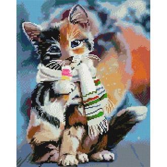 Алмазная живопись мозаика по номерам на холсте 40*50см BrushMe GJ3989 Милый котёнок
