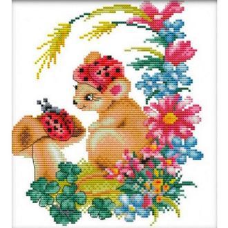 Набор для вышивания Идейка D116 32*35см 11СТ Мышка в цветах