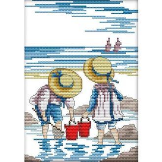 Набор для вышивания Идейка K209 28*35см 11СТ Дети на море 2