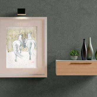 """Акварельная живопись """"Белые лошади"""""""