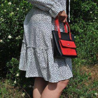 Черно-красная небольшая сумочка из кожи S04-black+red