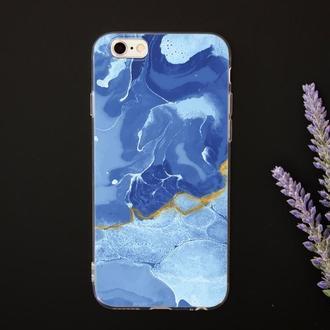 Чехол с мраморным дизайном для iPhone с УФ-печатью