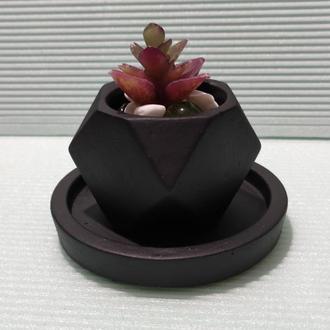 Геометрическое кашпо с подставкой под подсвечник, суккулент, мох, кактус ➧ черный (Код - Мин)