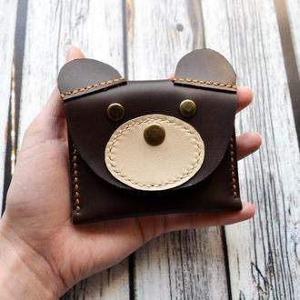 Кожаный кошелёк Мишка