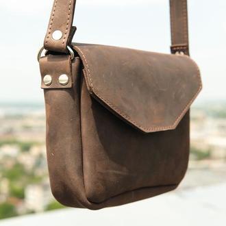 Женская кожаная сумка Лилу с винтажной кожи