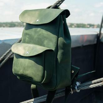 Женский кожаный рюкзак Цвет Зеленый