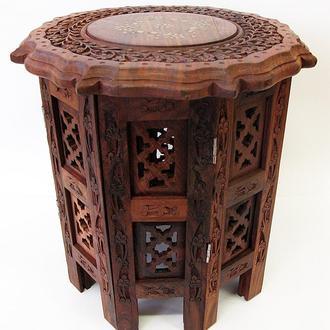Стол резной из дерева шестигранный