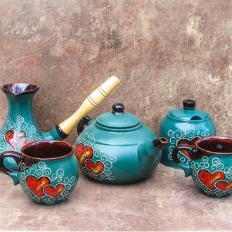 Сервіз чайно-кавовий малий на 2 особи декор Серце зелений