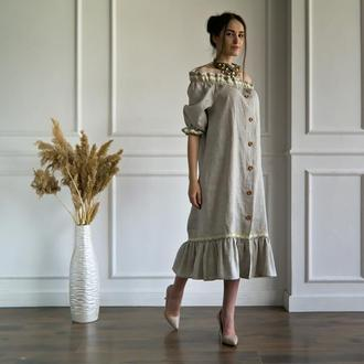 Повседневное платье в этно стиле с открытыми плечами из 100% льна