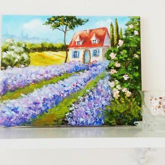 """Картина """"Чарівний Прованс - 2"""" полотно,олія, бузковий, фіолетовий"""