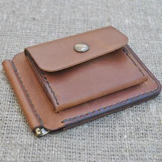 Зажим для денег с отделом для монет из натуральной кожи Z05-210