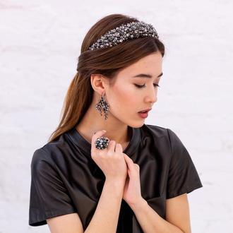 Обруч для волос с хрустальными бусинами и стразами Alexandra ZQ-6-3