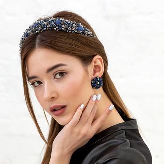Обруч для волос с хрустальными бусинами и стразами Alexandra ZQ-6-6