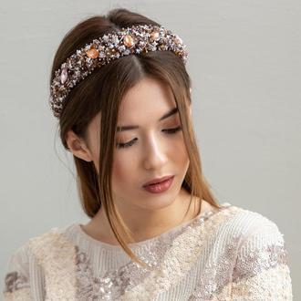 Обруч для волос с хрустальными бусинами и стразами Alexandra ZQ-6-9