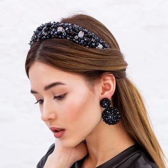 Обруч для волос с хрустальными бусинами и стразами Joanna ZQ-7-5