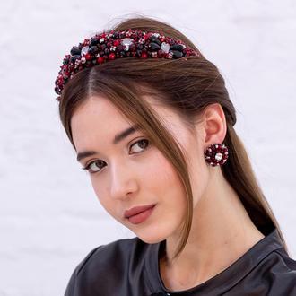Обруч для волос с хрустальными бусинами и стразами Joanna ZQ-7-10