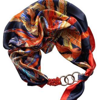 Атласный  платок ,,Яркая птица,, шарф-колье, шарф-чокер, шейный платок