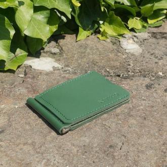Кошелек зажим для денег из кожи (green)