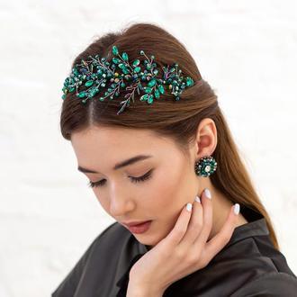 Обруч для волос с хрустальными бусинами и стразами Mary ZQ-11-8