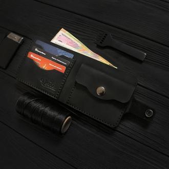 Мужской кожаный кошелек ручной работы VOILE vl-cw1-blk черный
