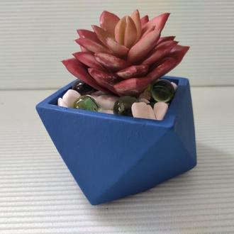 Горшок для цветов,бетонное кашпо,кашпо для кактусов, суккулентов (Код ГЕРМЕС) ➧ синий
