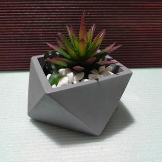 Горшок для цветов,бетонное кашпо,кашпо для кактусов, суккулентов (Код ГЕРМЕС) ➧ светло-серый