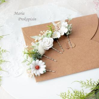 Заколки-невидимки с цветами в белом цвете (5 шт)