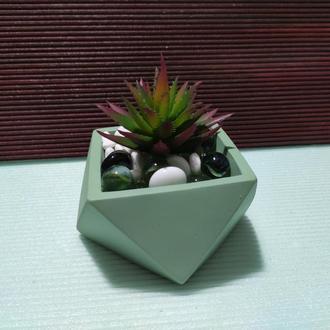 Горшок для цветов,бетонное кашпо,кашпо для кактусов, суккулентов (Код ГЕРМЕС) ➧ оливковый