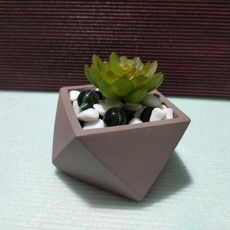Горшок для цветов,бетонное кашпо,кашпо для кактусов, суккулентов (Код ГЕРМЕС) ➧ телесный
