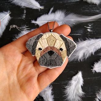 Кулон собака Мопс. Полигональная подвеска собака Мопс. Оригинальное украшение по фото собаки, кота