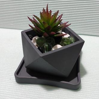 Горшок для цветов с подставкой,бетонное кашпо, кашпо под суккулент (Код ГЕРМЕС) ➧ темно-серый