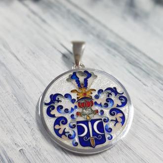 """Кулон """"Фамильный герб"""". Серебро. Горячая эмаль. Минанкари."""