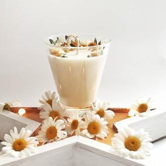 Свеча с декором из ромашек и лютиков - для настроения и романтики!