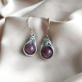 Серьги с натуральним камнем лепидолит, Фиолетовые серьги, Подарок женщине