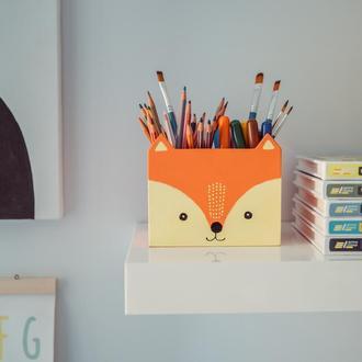 Деревянная подставка под ручки/карандаши Лисичка WoodAsFun, карандашница, органайзер