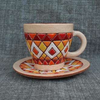 """Горнятко керамічне з блюдцем для кави """"Візерункове"""""""