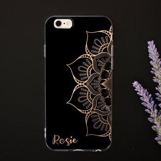 Именной чехол с золотой мандалой для iPhone с печатью